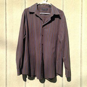 Axist Brown Button-Up Shirt with Stripes   XG